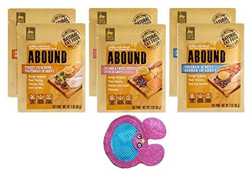 Abound Grain Free Natural Wet Cat Kitten Food Pouches - 3 Flavor 6 Pouch Bundle - Plus Denta-Net Treat Pocket- (7 Items Total)