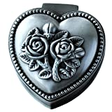 mossty European Vintage Style Jewelry Box True Love Heart Ring Box Trinket with 3D Rose Flower Cover