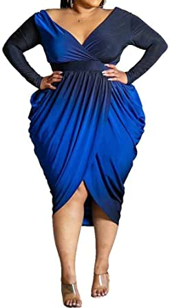 VERWIN Plus Size Pleated V-Neck Long Sleeve Asymmetrical Women's Dress High Waist Dress Maxi Dress
