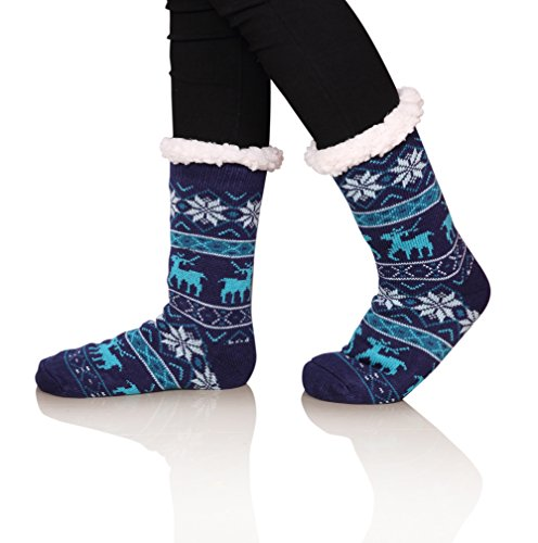 SDBING Women's Warm Cozy Fuzzy Fleece-lined Knee Highs Christmas gift Slipper socks (Blue)