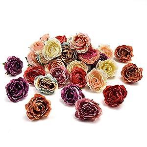 fake flowers heads in Bulk Wholesale Peony Flower Head Silk Artificial Flower Wedding Decoration DIY Garland Craft Flower 25pcs 4CM (Multicolor) 13