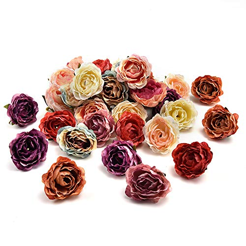 fake flowers heads in Bulk Wholesale Peony Flower Head Silk Artificial Flower Wedding Decoration DIY Garland Craft Flower 25pcs 4CM (Multicolor) -
