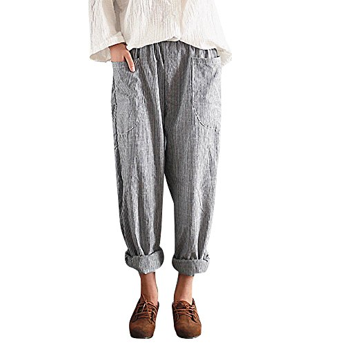 Hot Sale! Women Casual Cotton Linen Loose Fit Elastic Waist Harm Pant Striped Long Trousers (Black, (Striped Linen Blend Pants)