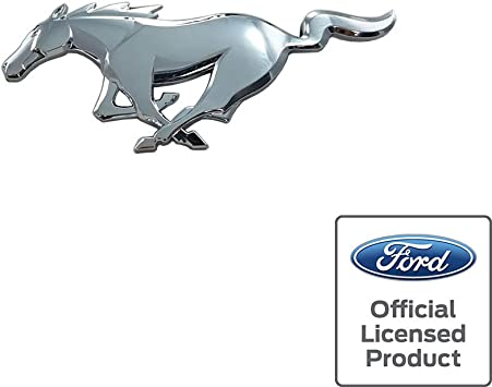 Front Grille Emblem Badge Running Horse For Ford Mustang Medium Size Chrome NEW
