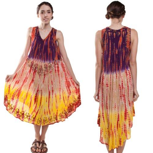 Silly yogi women's niki tie/dye beach dress/cover up one size fits S/XL-Purple-One Size