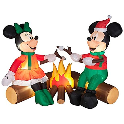 CHRISTMAS INFLATABLE DISNEYS MICKEY AND MINNIE MOUSE ROASTING MARSHMELLOWS BY THE CAMPFIRE by Gemmy (Image #1)