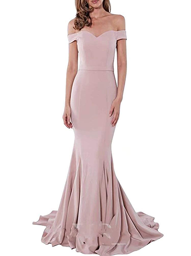 bluesh PearlBridal Women's Simple Off The Shoulder Mermaid Prom Dresses 2019 Long Evening Gowns with Sweep Train