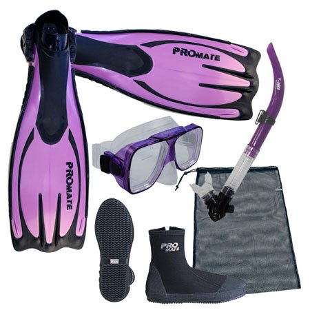 Boots Snorkel Fins Mask (PROMATE Scuba Dive Snorkeling Mask Snorkel Boots Fins Gear Bag Set, Purple, Mens7/WoMens8)