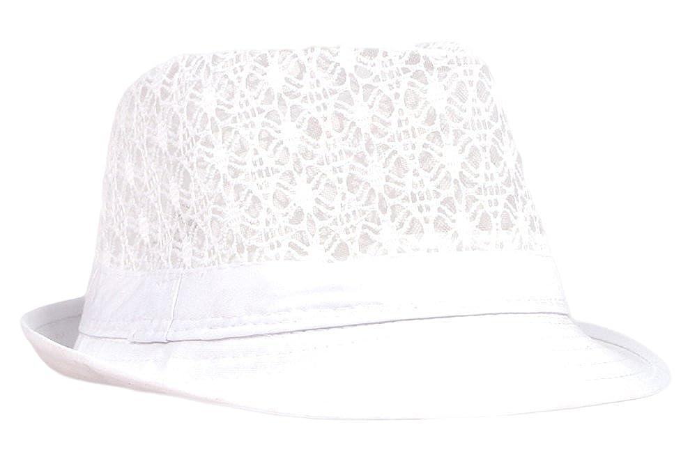 1896a348768 Qunson Women's Eyelet Summer Short Brim Trilby Fedora Hat at Amazon Women's  Clothing store: