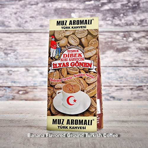 ilyas Gonen Dibek Ground Turkish Coffee/Plain Dibek and 19 Different Flavored (100g / 3,5oz) (Banana Flavored Ground Turkish Coffee) -  Dibek Kuru Kahve