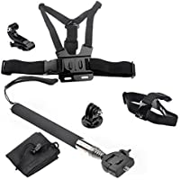 WINGONEER Chest Harness and Head Strap Mount and Monopod Tripod Adapter for Gopro Hd Hero