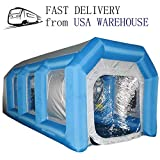 SAYOK Portable Inflatable Spray Paint Booth with Blowers and Filter System Portable Car & Door Paint Booth, 19.69ft x 9.84ft x 8.20ft(Blue)