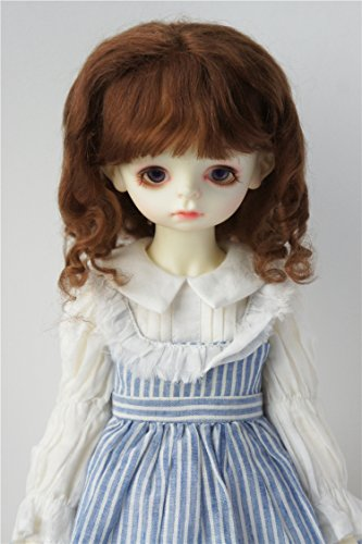 Light Brown Mohair (JD162 8-9'' 21-23CM SD long curly Sauvage mohair doll wigs 1/3 BJD doll accessories (Light brown))