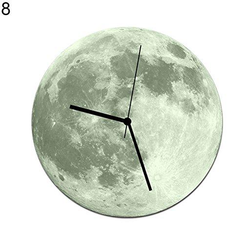 Creative Luminous Clock 3D Glow In Dark Large Moon DIY Wall Clock