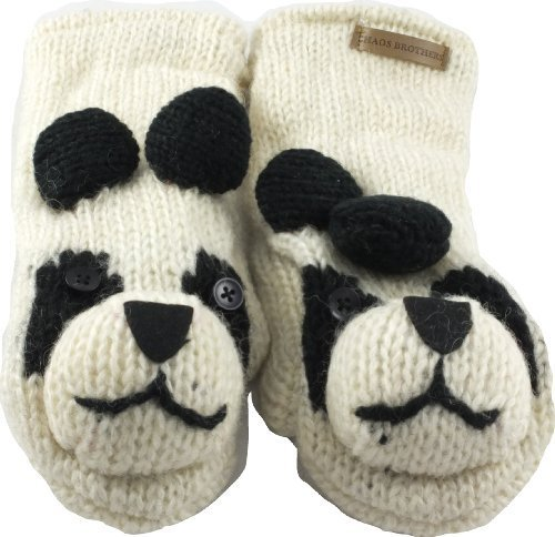 Revive Online Mens Nepal Animal Mittens Wool Hand Made Panda
