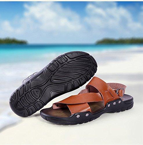 Sandali della pelle bovina di alta qualità degli uomini di estate nuovi uomini morbidi comodi morbidi scarpe da spiaggia di tempo, marrone, UK = 8, EU = 42