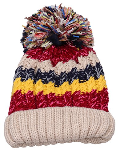 Women Winter Beanie Warm Colorful Cable Knit Fleece Lined Pom Hat M29  (Beige) f308ad5ddead