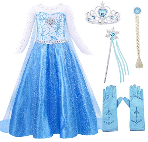 Cotrio Elsa Dress Up Princess Costume Halloween Outfits with Accessories Birthday Party Dresses Size 4T (110, 3-4Years, Wig, Gloves, Tiara/Crown, Wand/Scepter)]()