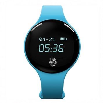 Zxzays Impermeable Bluetooth Reloj Inteligente Podómetro Rastreador de Ejercicios Recordatorio de Llamadas Reloj Inteligente Hombres Mujeres Reloj,Azul: ...