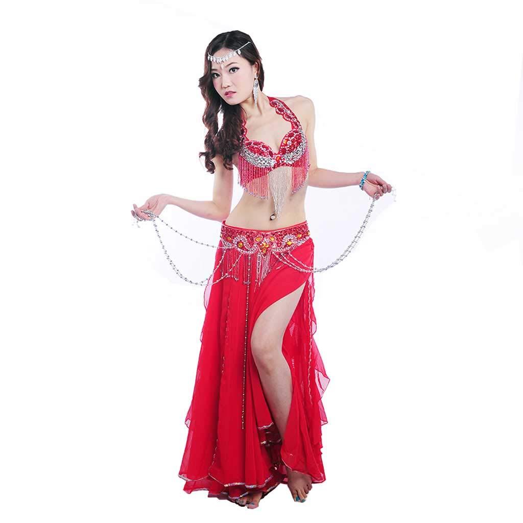 成人女性のベリーダンスの衣装、ビーズのブラのドレス B07J46BHTF S s|レッド レッド S s
