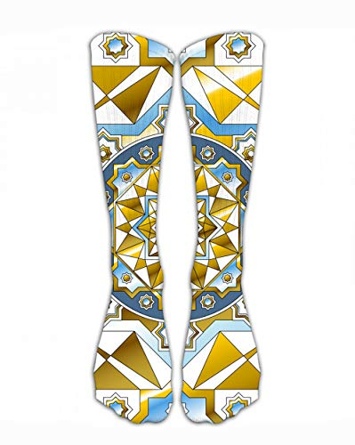 SARA NELL Classics Compression Socks Ornate Gold Border in Eastern Style Personalized Sport Athletic 40Cm Long Crew Socks Men Women