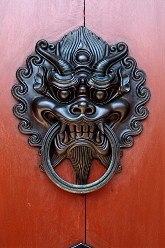 Wallmonkeys Chinese Black Dragon Door Knocker Peel and Stick Wall Decals WM61435 (Apartment Door Knockers)