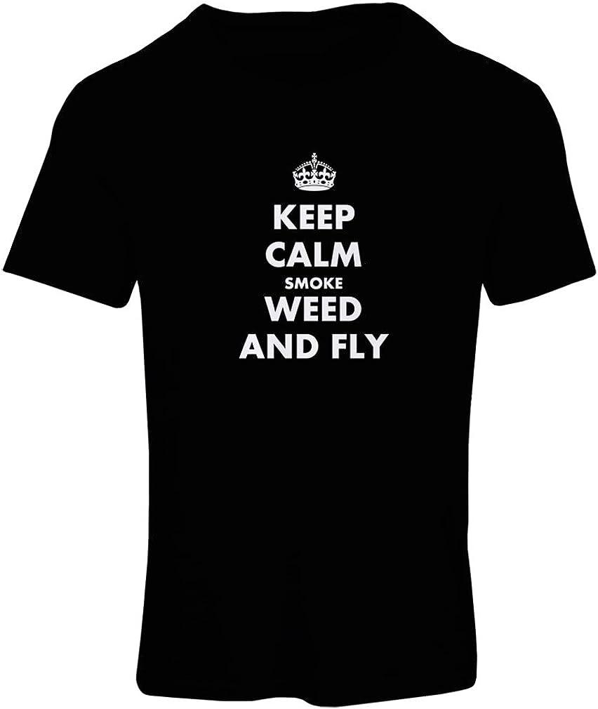 lepni.me Camiseta Mujer Mantenga la Calma, Fume Hierba y vuele! Marihuana, Amante de la Hoja de Cannabis
