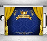 LB Royal Prince Backdrop Baby Shower Birthday Party Decorations 7x5ft Vinyl Blue Backdrop King Gold Curtain Photo Background for Newborn Baby Children Portrait Photoshoot Studio Props
