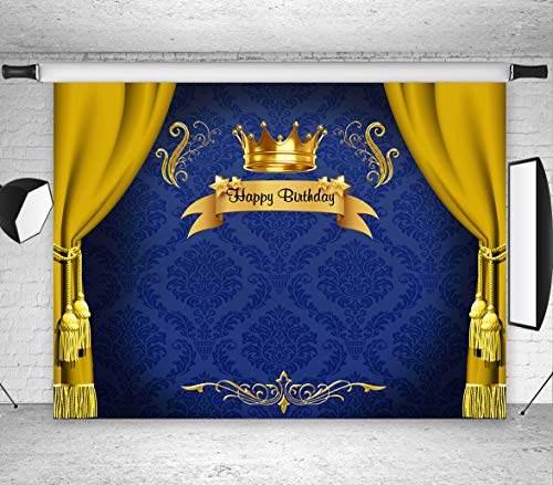 LB Royal Prince Backdrop Baby Shower Birthday Party Decorations 7x5ft Vinyl Blue Backdrop King Gold Curtain Photo Background for Newborn Baby Children Portrait Photoshoot Studio -