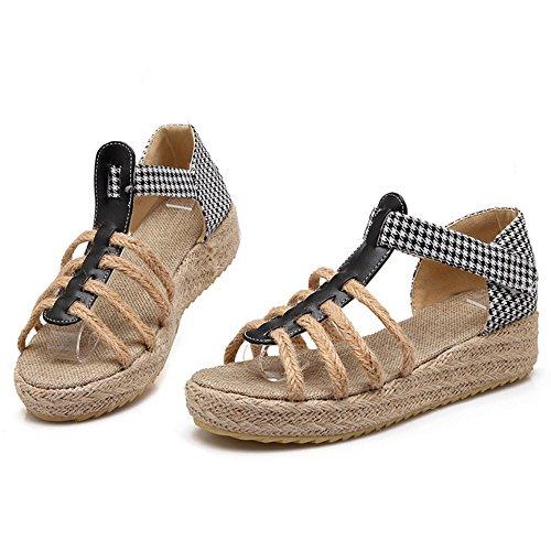 ... COOLCEPT Damen Mode-Event T-Spangen Sandalen Open Toe Keilabsatz Schuhe  Mit Klettband Schwarz ...