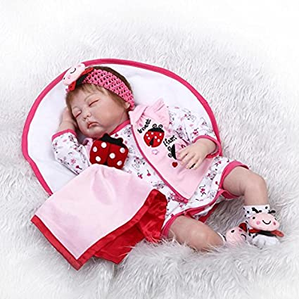 Amazon Com Funny House 22 Inch 55cm New Lifelike Reborn Dolls Soft Vinyl Silicone Realistic Newborn Dolls Free Magnet Mouth Dummy Sleeping Baby For Child Playing Toys Xmas Birthday Present Toys Games