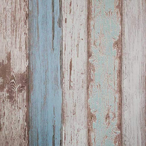 Blue Wood Wallpaper,565x53 cm Self Adhesive Peel and Stick Vinyl Decorative Film Vintage Roll Shiplap Wall Covering for Wall Kitchen Cabinet Furniture Shelf Liner Drawer Desk Cupboard
