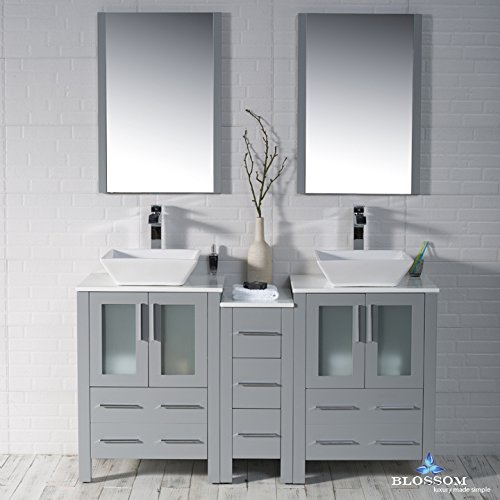 BLOSSOM 001-60-15-D-1616V Sydney 60'' Double Vanity Set with Vessel Sinks and Mirrors Metal Gray by Blossom