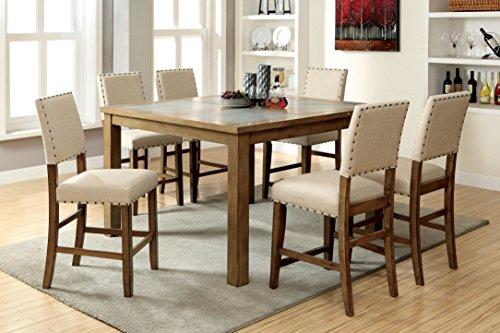 Furniture of America Lucena 7-Piece Transitional Pub Dining Set