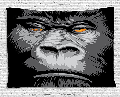 - Ambesonne Modern Tapestry, Close up Gorilla Portrait with Orange Eyes Zoo Jungle Animal Wild Money Graphic, Wide Wall Hanging for Bedroom Living Room Dorm, 80