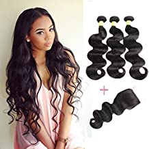 YePei Brazilian Virgin Body Wave 3 bundles With Free Part Closure Natural Color 100% Unprocessed Human Hair Weave Weft with Lace Closure(10 12 14 with 10 Free )