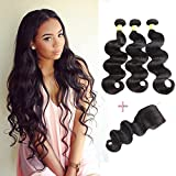 YePei Brazilian Virgin Body Wave 3 bundles With Free Part Closure Natural Color 100% Unprocessed Human Hair Weave Weft with Lace Closure (22 24 26 with 20 free)