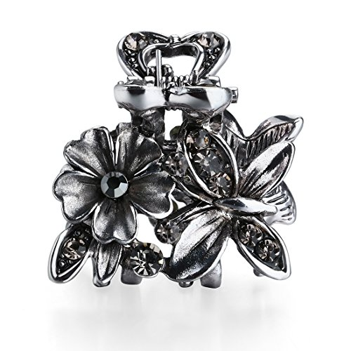 Cottvott Ancient Silver Color Mini Hair Claw Clips Accessory Small Flower Vintage Metal Hairpin for Women (Butterfly Flower-Gray) (Silver Clips Mini)