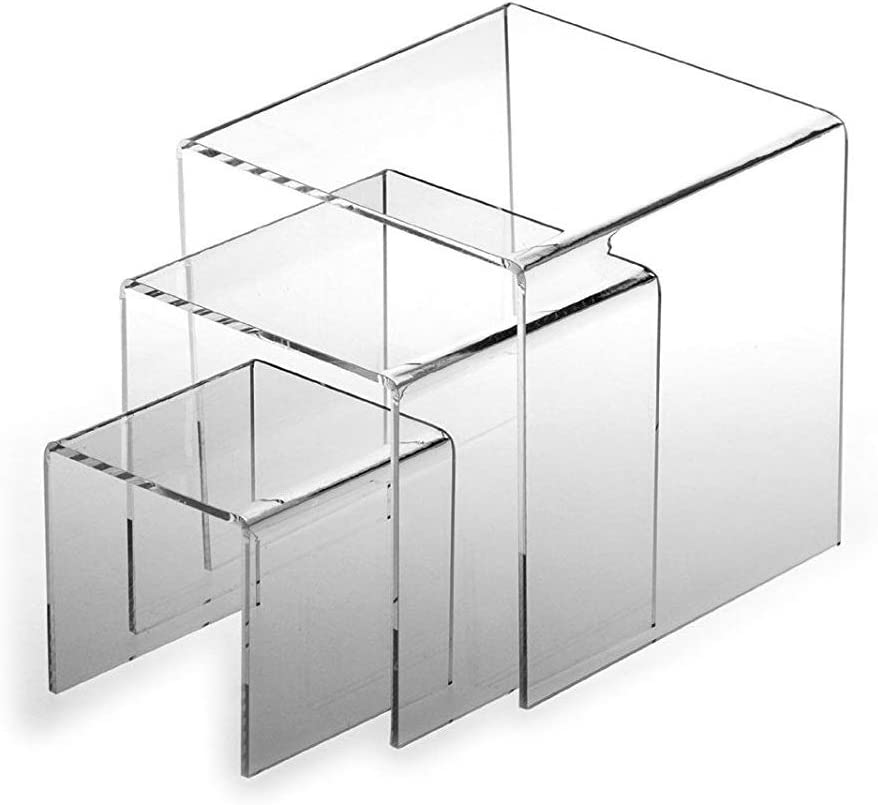 3 Piece Acrylic Heavy Duty Square Riser Set (5mm Thick - Heavy Duty, 4