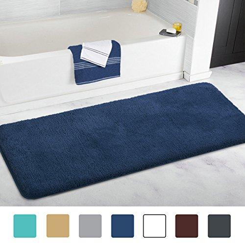 MAYSHINE 27.5×47 inch Dark Blue Non-slip Bathroom Rug Bath Mat Machine-washable Soft Microfiber