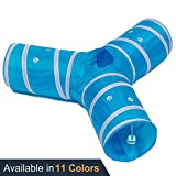 Prosper Pet Cat Tunnel - Collapsible 3 Way Play Toy - Tube Fun for Rabbits, Kittens, and Dogs - Aqua