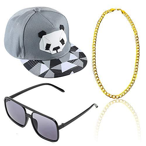 Beelittle Rapper Hip Hop Costume Accessories Set Adjustable Snapback Baseball Hat Old Glasses Gold Plated Chain (C) -