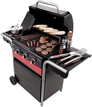 Barbecue hybride Char-Broil Gas2Coal 330 - Barbecue à gaz et charbon à 3brûleurs, finition noire.