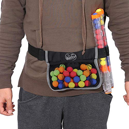 Vbestlife Bullet Ball Storage Bag,Oxford Canvas Kids Spherical Bullets Tactical Waist Bag Pouch for Nerf Rival Zeus Apollo Refill(Bag Only)(Large 22.5 19.3cm)