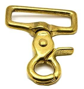 Okones Pack of 2,1'' Inner Width,Solid Brass Square Lobster Clasps Swivel Trigger Clips Hooks for Straps Bags Belting leathercraft(Hook insides 1'')