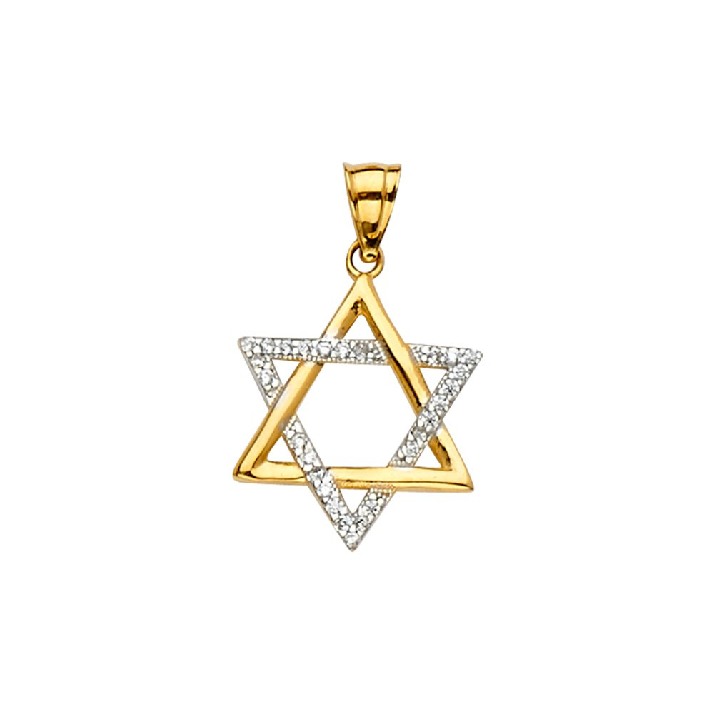 Size : 24 x 14 mm GoldenMine 14k Two Tone Gold Star of David Pendant