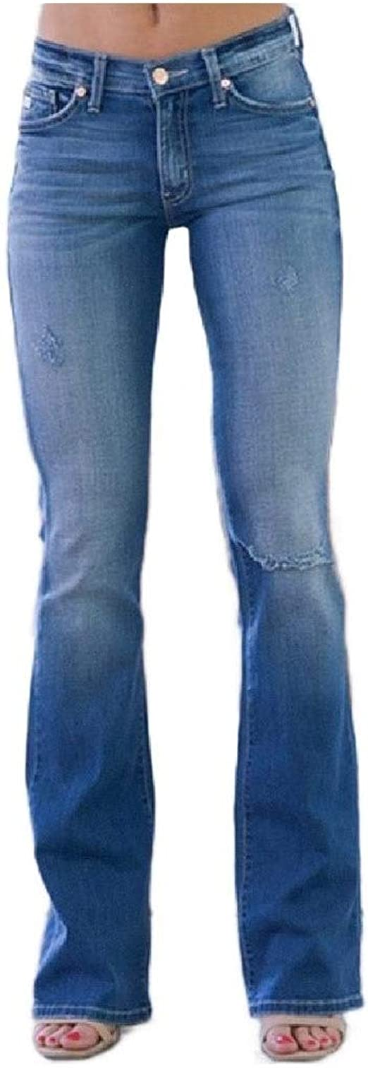 YAXINHE Womens Casual Bootcut Slim Mid Waist Ripped Hole Denim Jeans