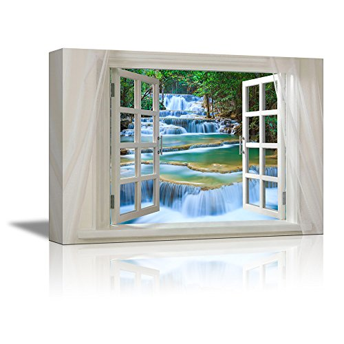 Glimpse into Cascading Waterfalls in the Forest out of Open Window Wall Decor ation