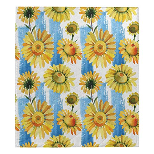 (InterestPrint Wildflower Yellow Chamomile Flower Pattern Soft Premium Fabric Quilt Bedding Twin Size 80