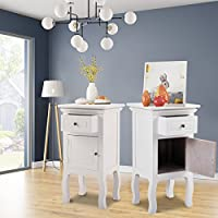 LAZYMOON Set of 2 Wooden Nightstand End Side Table Bedroom Storage Cabinet Furniture w/Drawer White